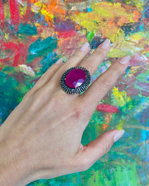 Ruby Ring with Diamonds - Flower + Hewes