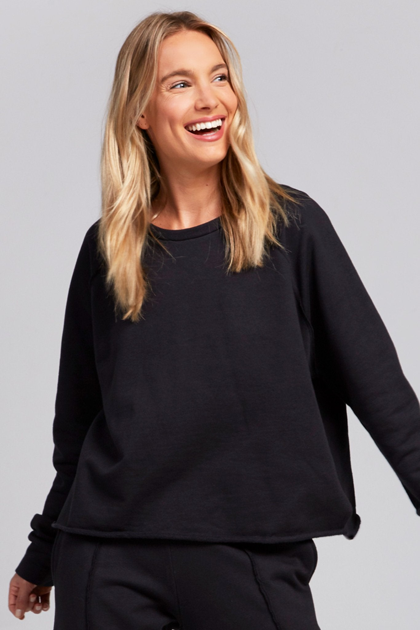 Black Cotton Fleece Sweatshirt