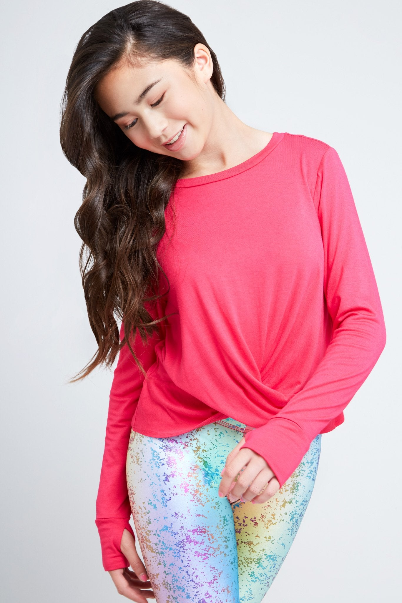 Girls Hot Pink Twist Front Long Sleeve