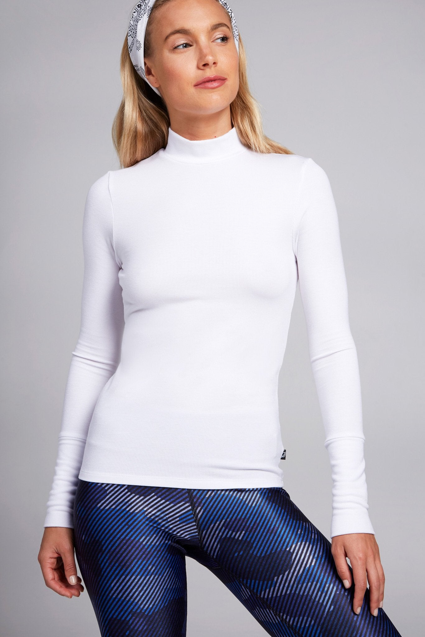 White Super Rib Mock Neck