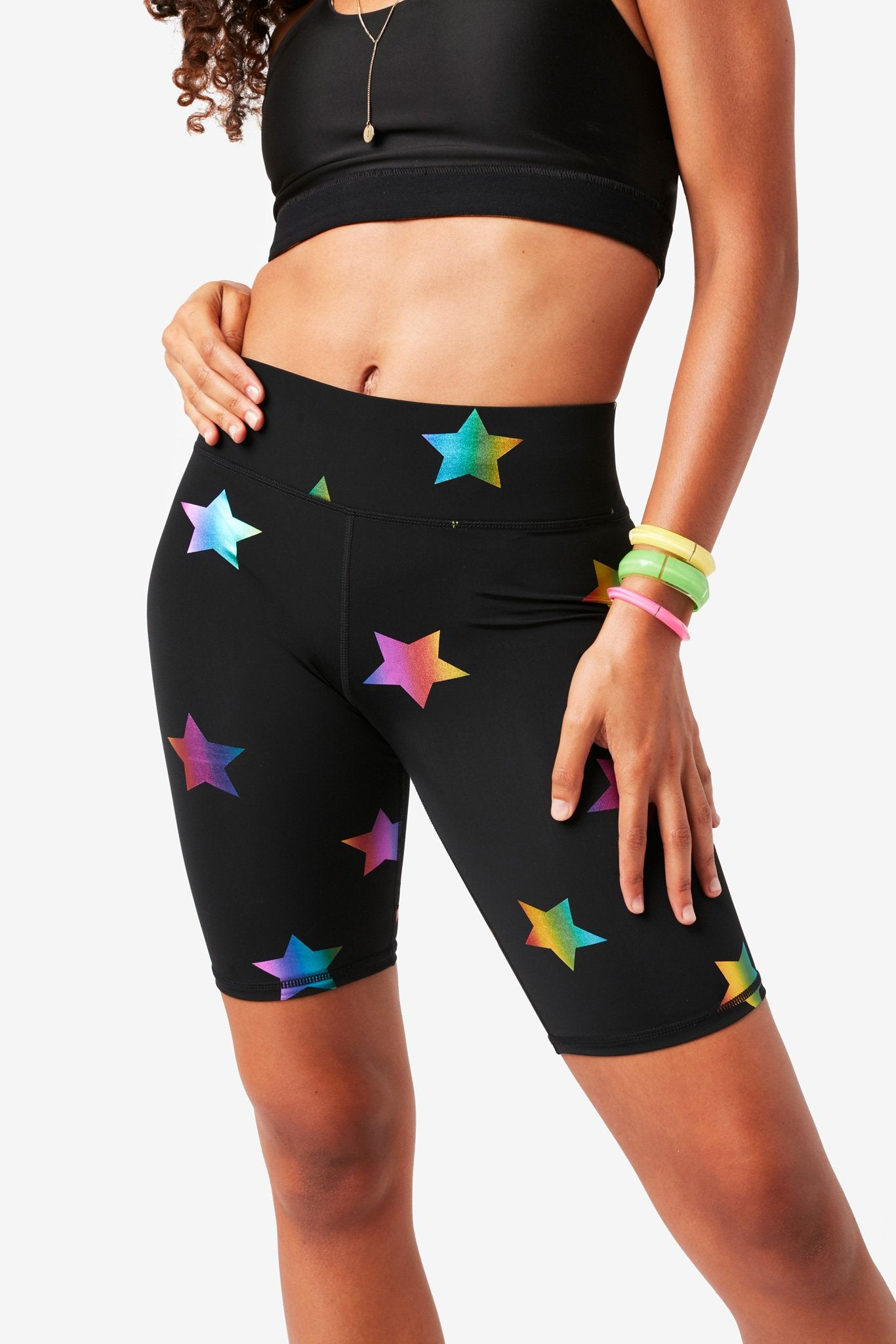 Black Rainbow Star Foil UpLift Bike Shorts