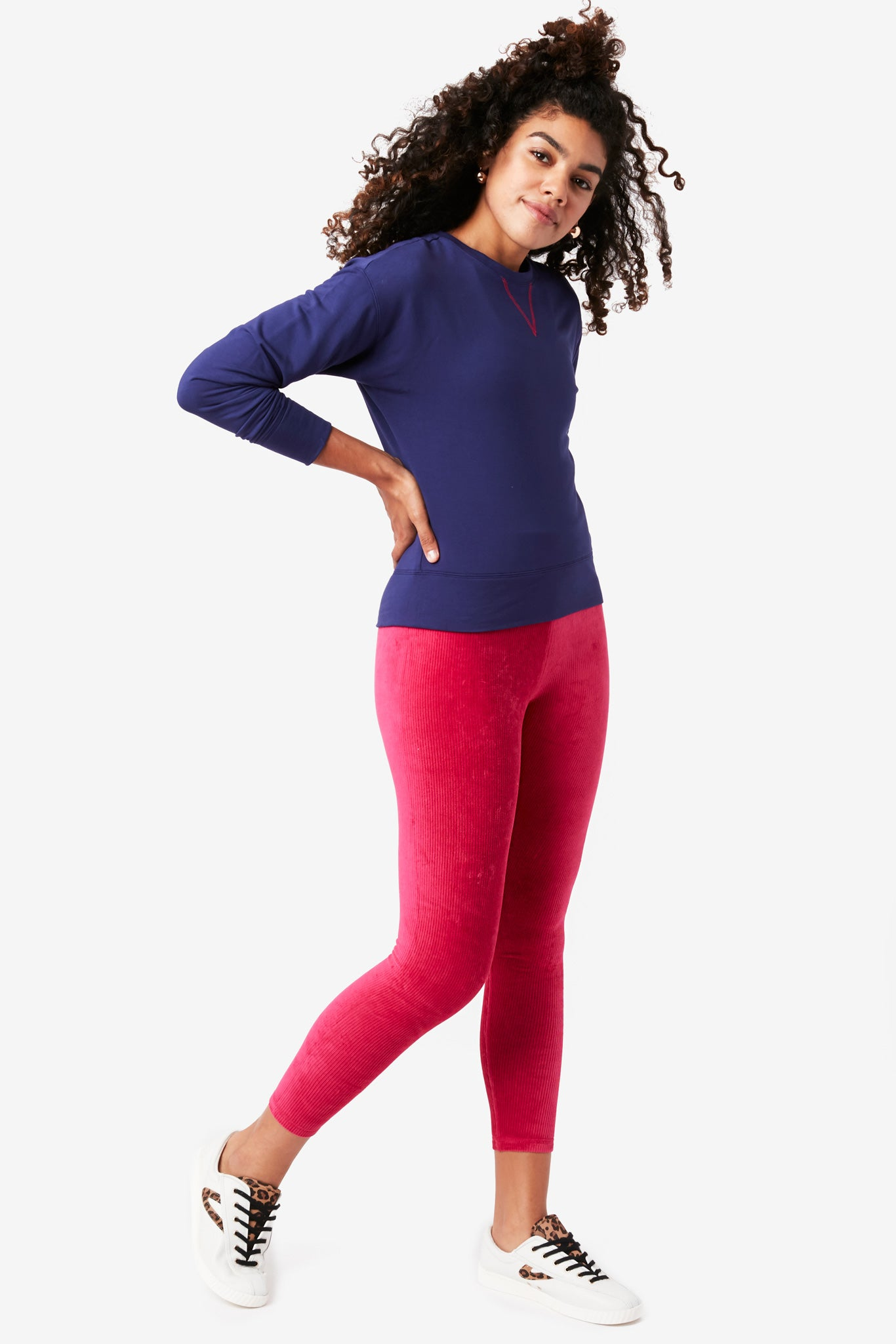 Magenta Stretch Corduroy Leggings