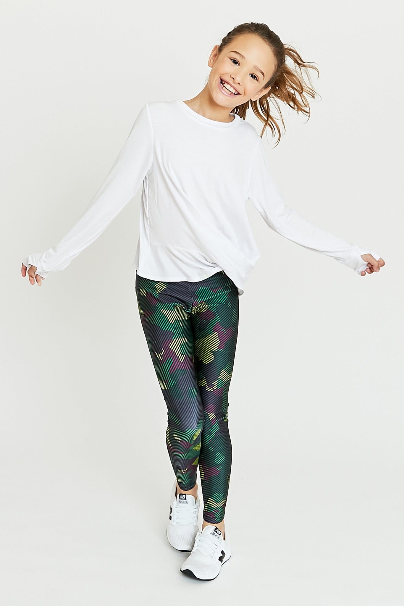 Girls Green Camo Stripe Legging