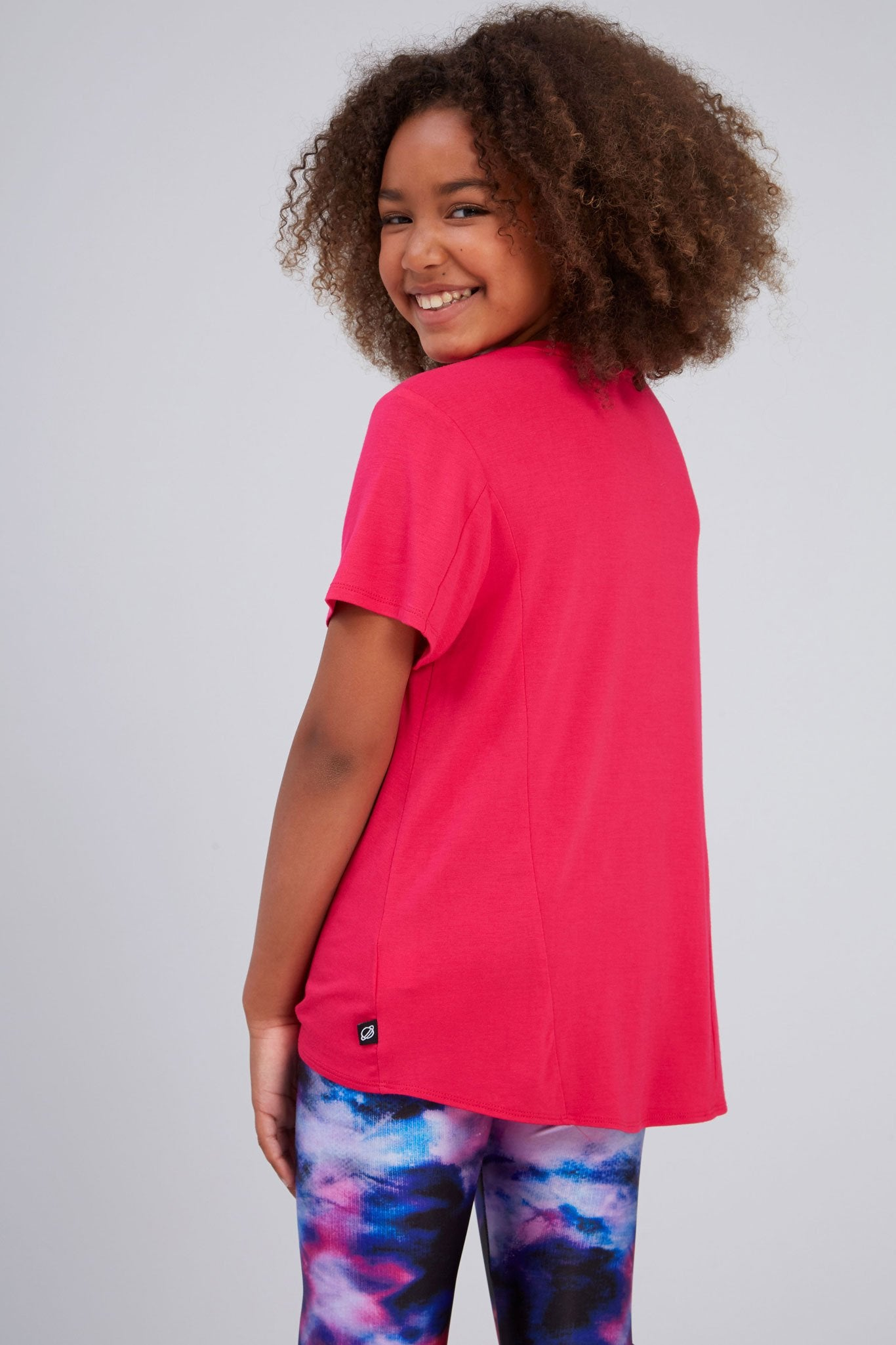 Girls Hot Pink Tie Front Tee