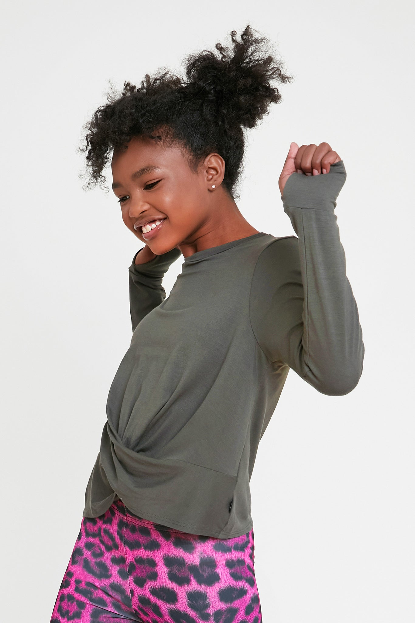 Girls Twist Front Long Sleeve in Olive