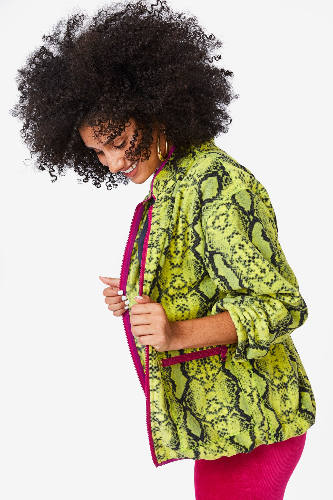 Lime Python BundleUp Fleece Jacket