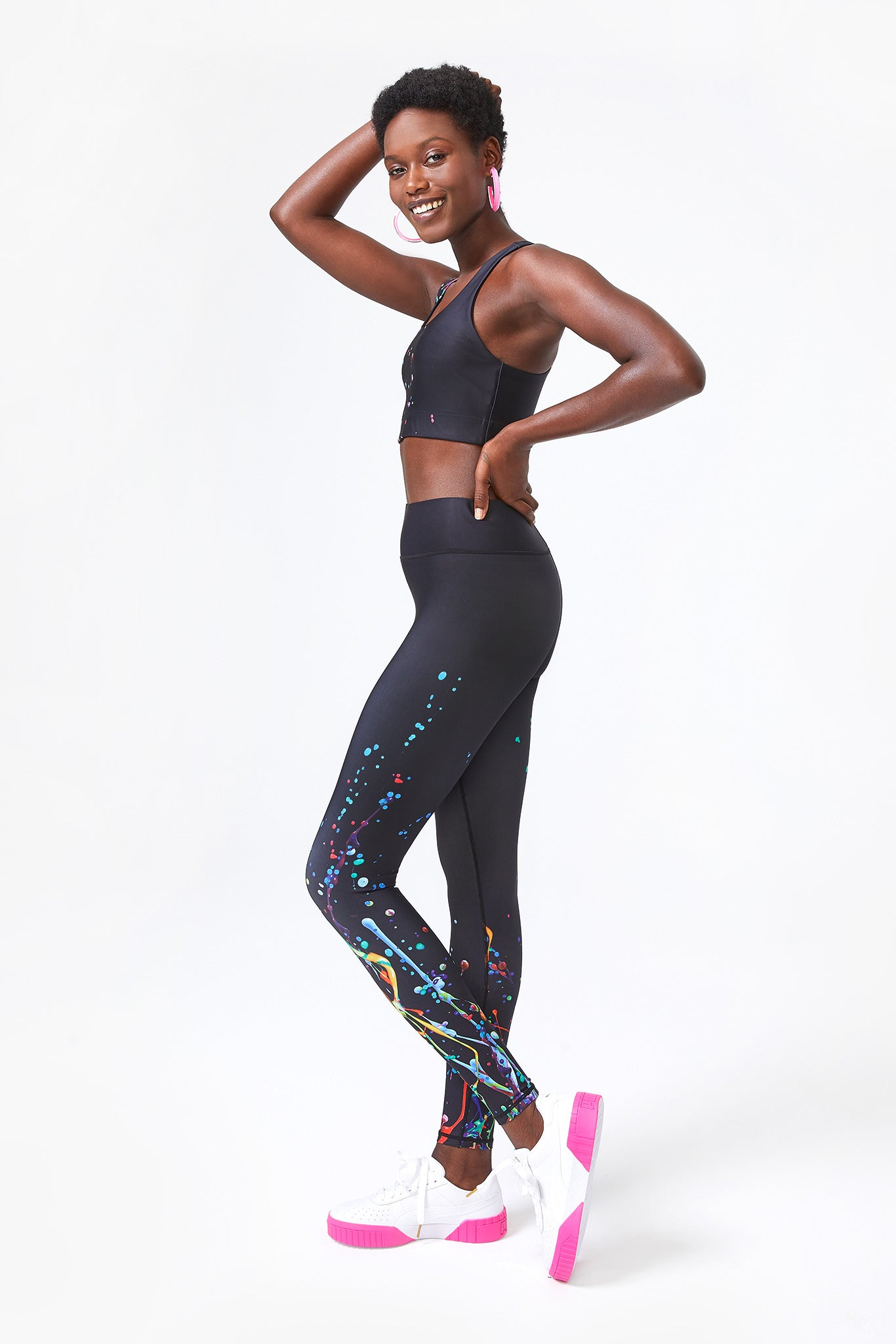 Black Sound Splatter DuoKnit Leggings