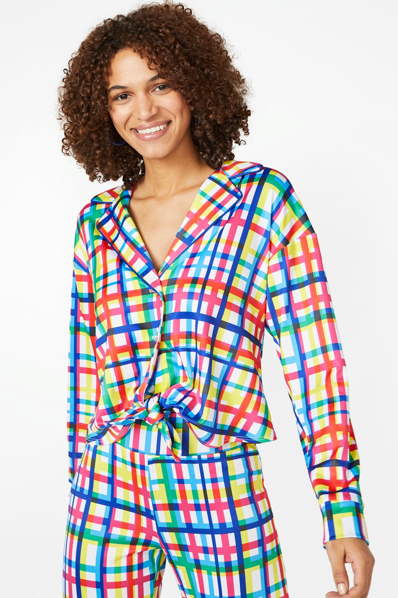 Technicolor Plaid Satin Jersey Tie Front Top