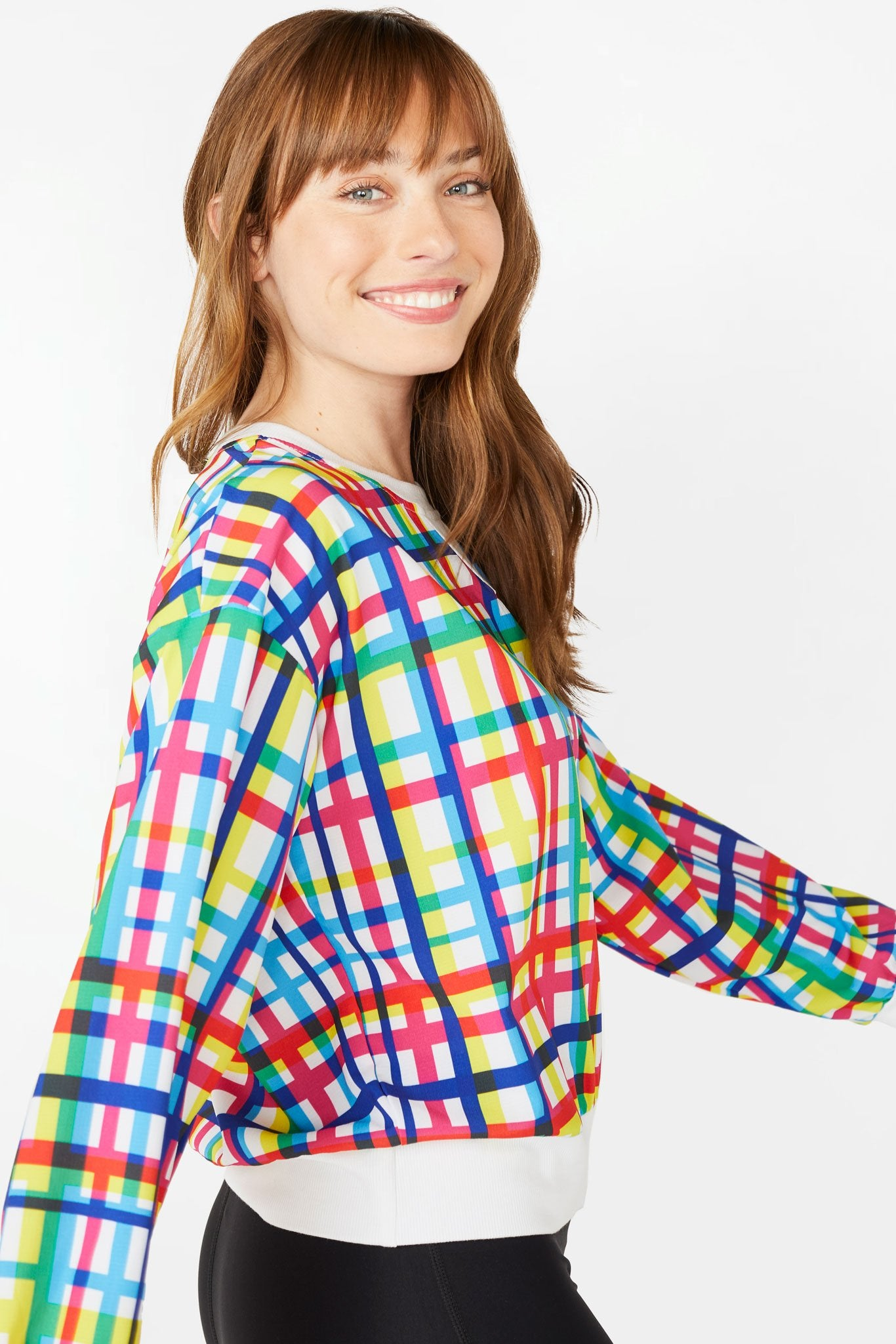 Technicolor Plaid RipStop Windbreaker Sweatshirt