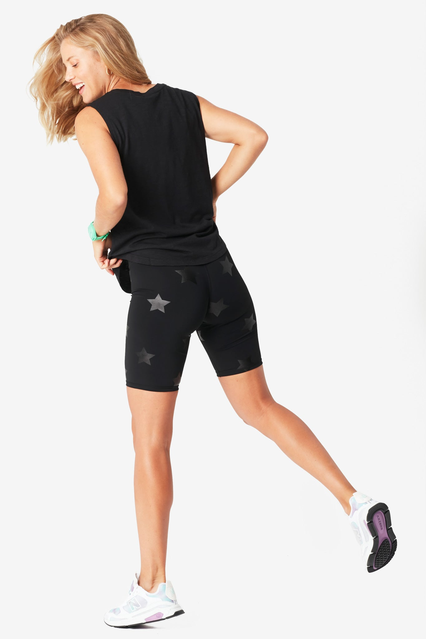 Black Tonal Star Foil UpLift Bike Shorts