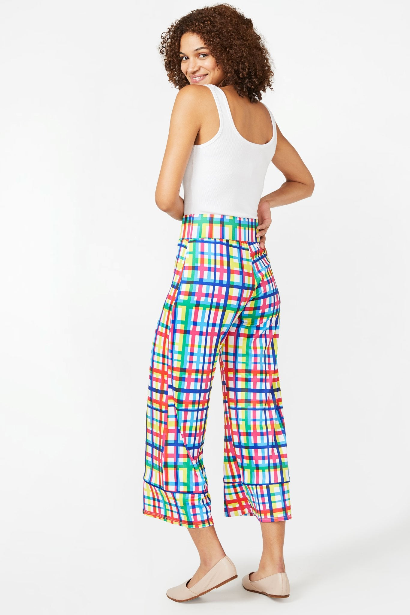 Technicolor Plaid Wide Leg Pants