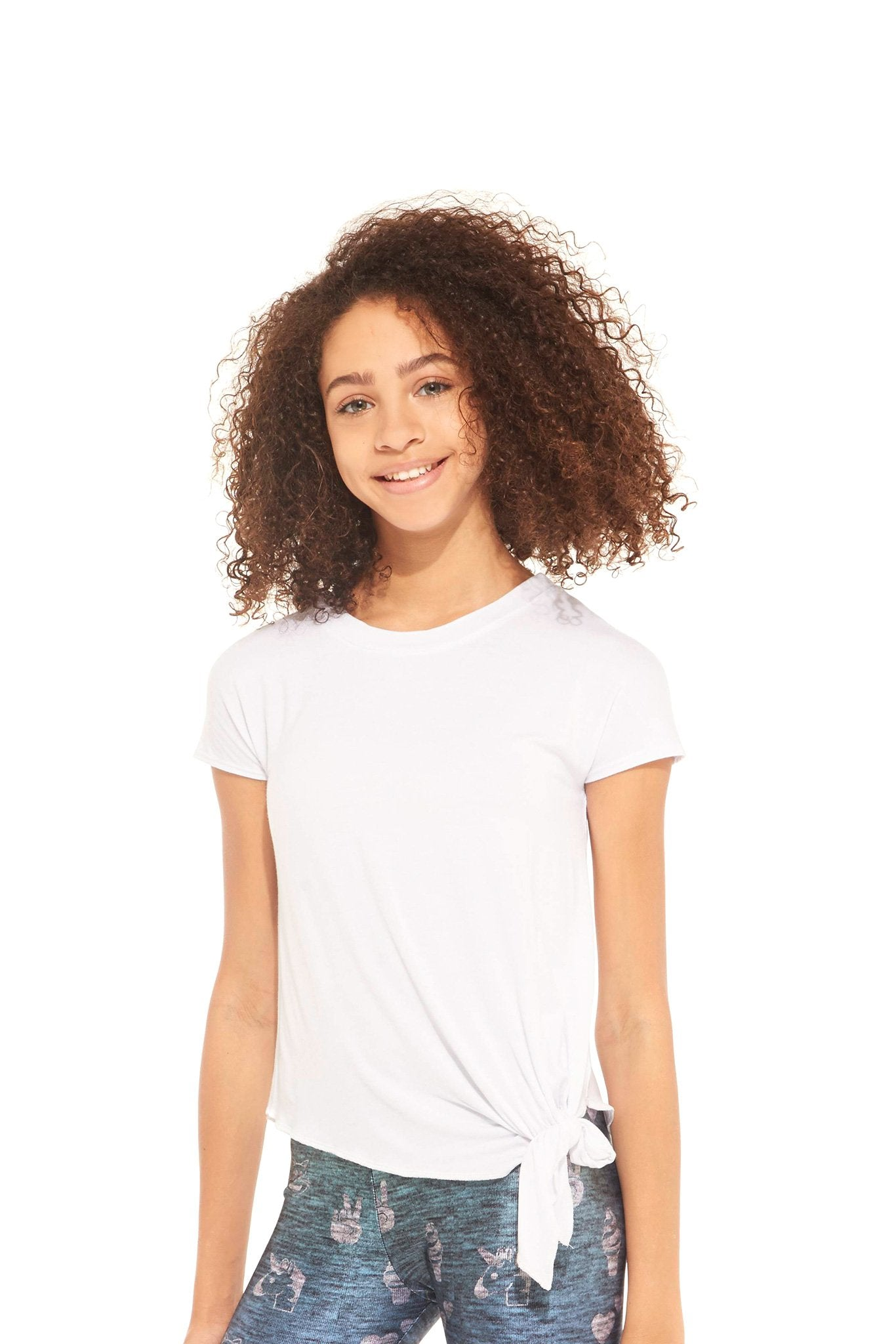 Girls White Tie Front T-Shirt by Terez