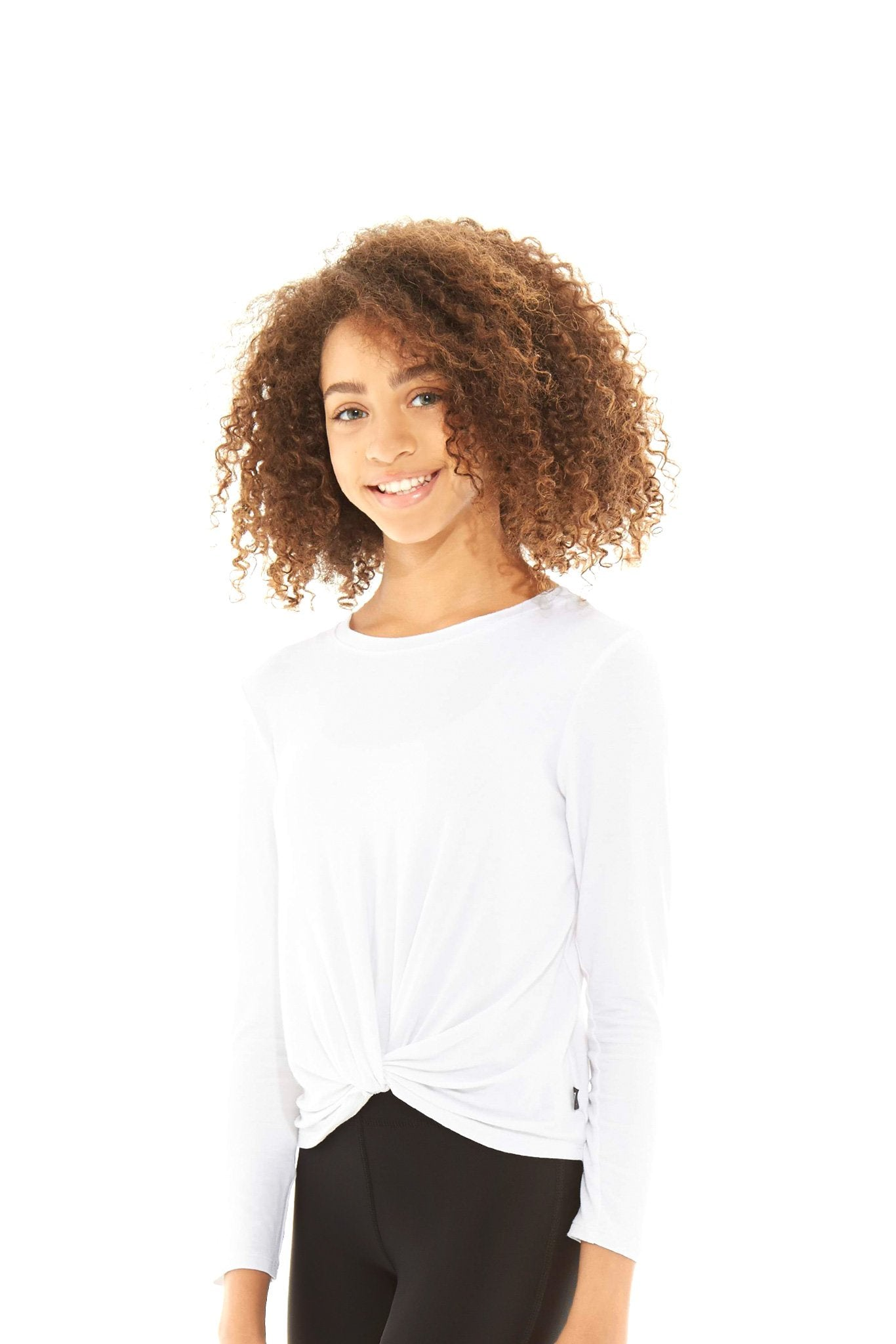 Girls White Twist Front Long Sleeve by Terez