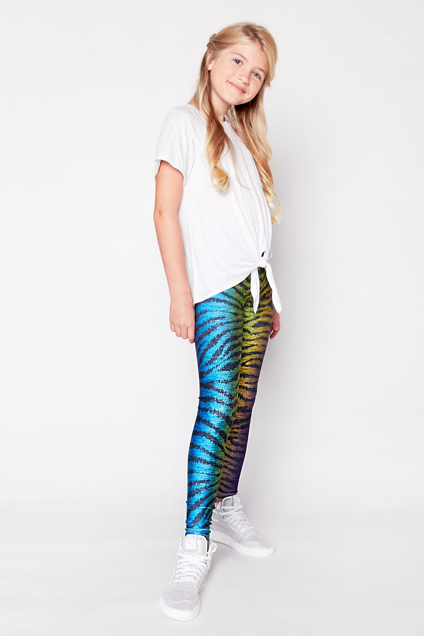 Girls Show Your Stripes Rainbow Leggings
