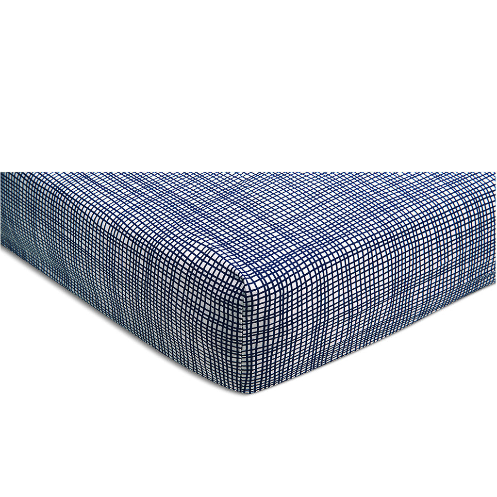 Cross Hatch Sheet Set - Navy