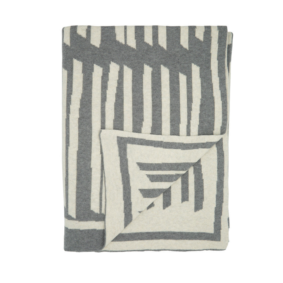Lines Cotton Knit Throw - Grey/Natural