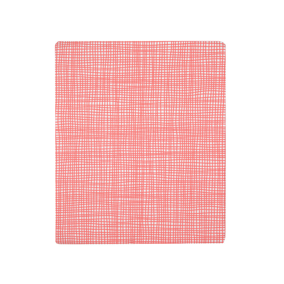 Fitted Cot Sheet - Cross Hatch Pink
