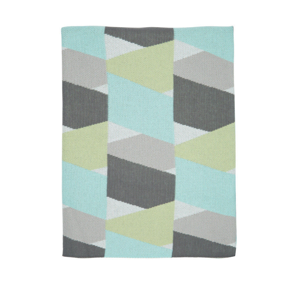 NEW Zig Zag Blanket - Aqua/Grey