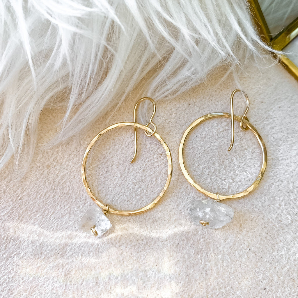 Zara Gemstone Hoops with Herkimer Diamonds