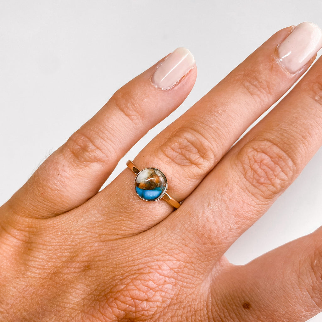 8MM Spiny Oyster Copper Turquoise Ring