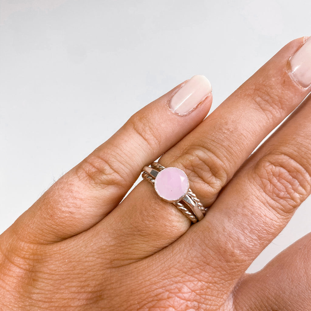 8MM Pink Chalcedony Ring