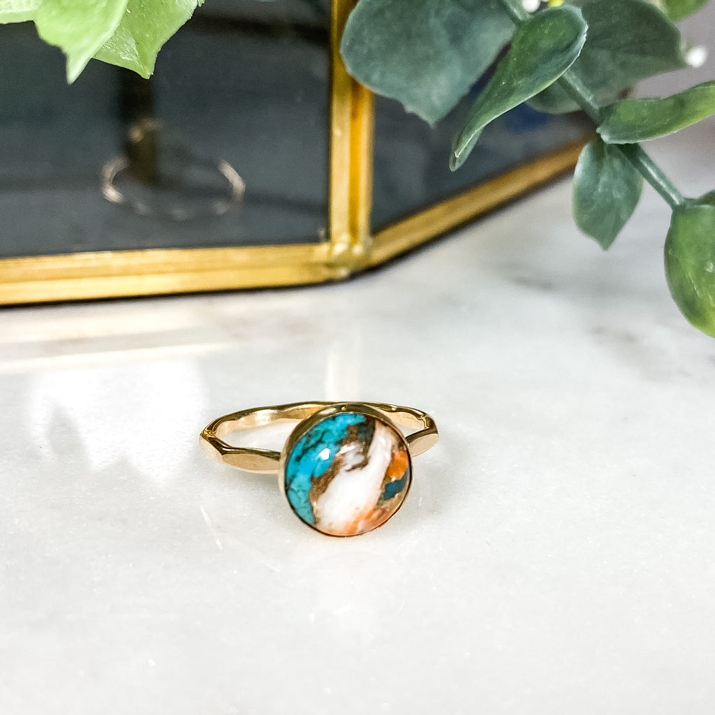 10MM Spiny Oyster Copper Turquoise Ring