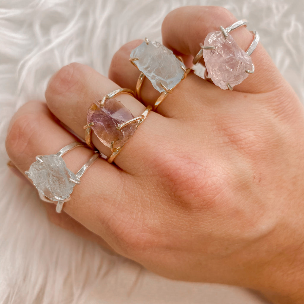Raw Rose Quartz Capri Ring