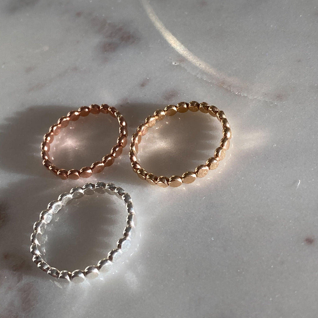 Hammered Bubbly Ring Mixed Metal Stack