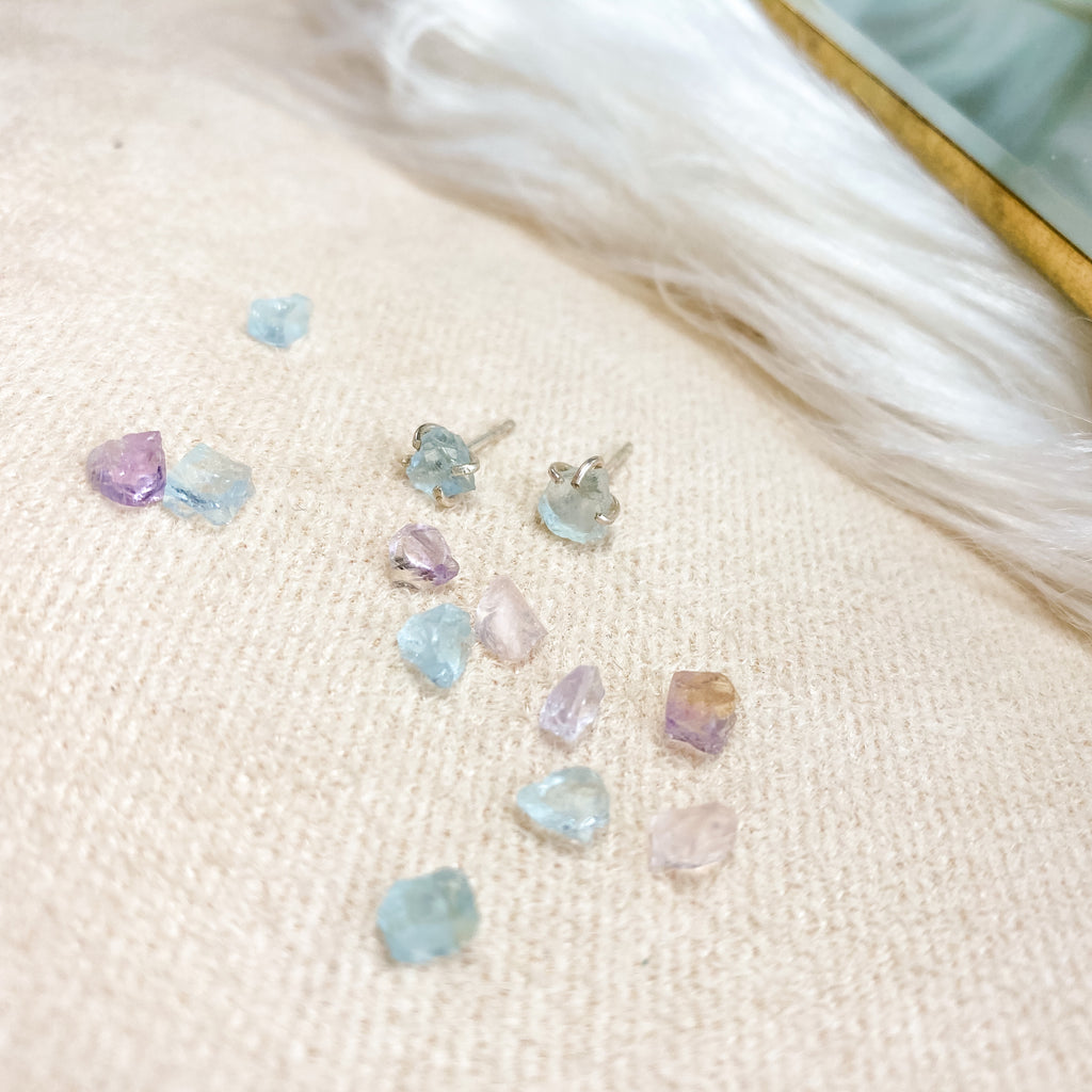Raw Gemstone Studs - Small