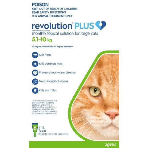 REVOLUTION PLUS CAT LARGE GREEN 5.1KG-10KG 6PK