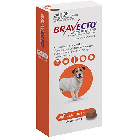 BRAVECTO CHEW SML DOG 4.5-10KG ORANGE