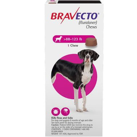 BRAVECTO CHEW VERY LGE DOG 40-56KG PINK