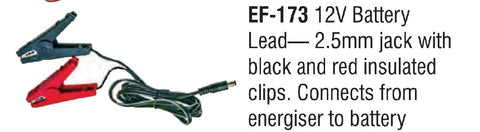 12 VOLT BATTERY LEAD - CLIPS WITH 2.5MM JACK
