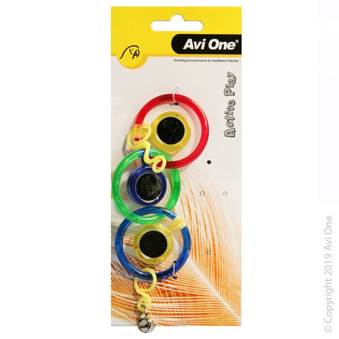 BIRD TOY TRIPLE RING WITH MIRROR BELL 21CM