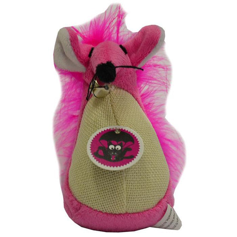 SCREAM FATTY MOUSE CAT TOY LOUD PINK 13CM