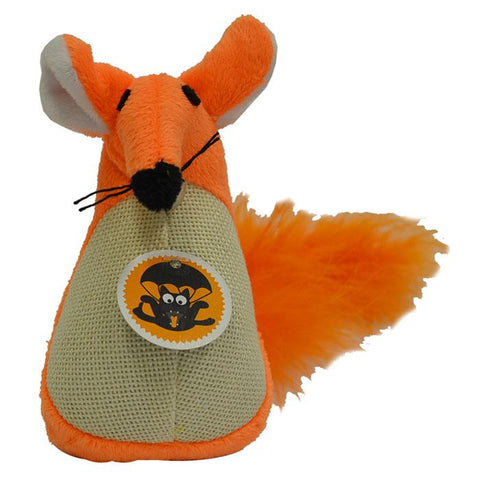 SCREAM FATTY MOUSE CAT TOY LOUD ORANGE 13CM