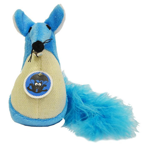 SCREAM FATTY MOUSE CAT TOY LOUD BLUE - 13CM