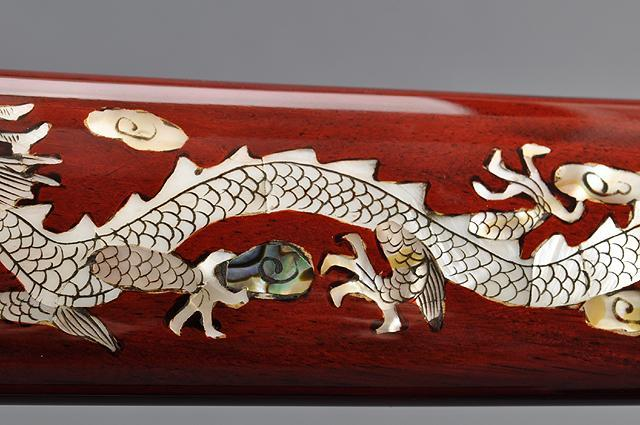 FULLY HAND FORGED RED MOTHER OF PEARL DRAGON SAMURAI KATANAS SWORDS - buyblade
