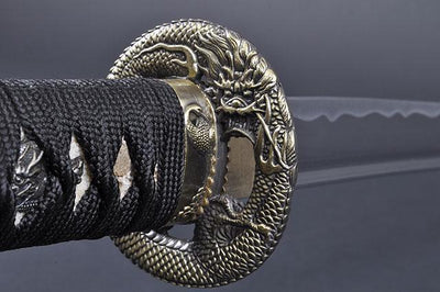 FULLY HANDMADE DRAGON ALUMINIUM ALLOY JAPANESE SAMURAI WAKIZASHI TRAINING SWORD - buyblade