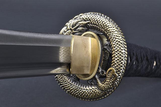 FULLY HANDMADE DRAGON STAINLESS JAPANESE SAMURAI KATANA TRAINING SWORD - buyblade