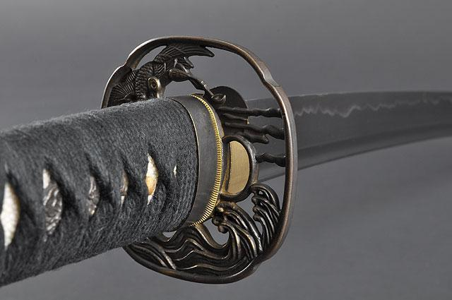 FULLY HAND FORGED BLACK FULL TANG CRANE JAPANESE SAMURAI KATANA SWORD - buyblade
