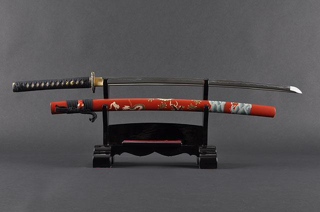 FULLY HAND FORGED RED JAPANESE SAMURAI KATANAS SWORDS - buyblade