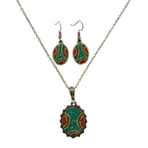 Green Dream Micro Mosaic Set of Necklace and Earrings