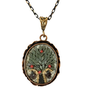 Tree Of Life White Background Micro Mosaic Necklace Oval Shape