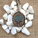 Tree Of Life Yellow Background Micro Mosaic Necklace Oval Shape