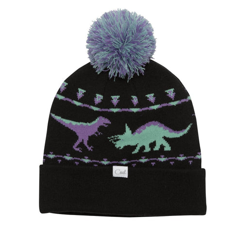 The Dina Dinosaur Graphic Pom Beanie - Black