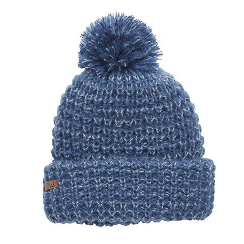 The Kate Waffle Knit Pom Womens Beanie - Dusty Navy