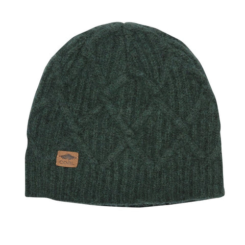 The Yukon Cable Knit Wool Beanie - Heather Forest Green