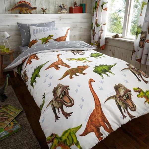 Childrens Dinosaur Reversible Single Duvet Set