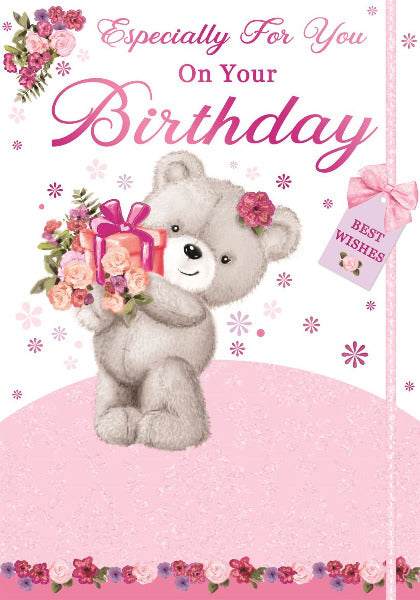 Pink Bear With Flowers Open Birthday Card 133 x 190